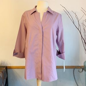 NWT Foxcroft NYC lavender heritage button down